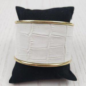 Jewelmint Gold Tone Faux Leather Cuff Bracelet